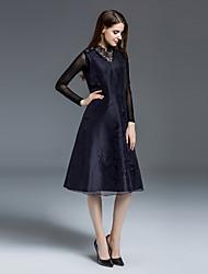 Swing Robe Femme Sortie Sophistiqué,Jacquard Col Ras du Cou Mi-long Manches Longues Bleu / Rouge Soie Automne Taille Normale