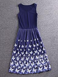 simples demonstração de sair bonito bainha dressfloral midi azul sem mangas rayon / poliéster verão alto