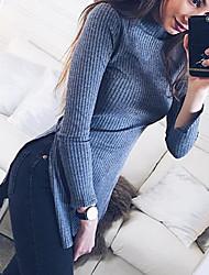 Damen Solide / Buchstabe Einfach Lässig/Alltäglich T-shirt,Rollkragen Herbst / Winter Langarm Grau Polyester Mittel