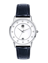 Belle Silver Case White Dial Black Leather Strap Watch