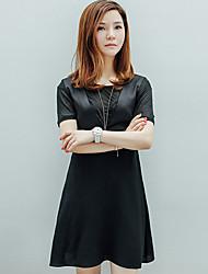 I'HAPPY Women's Work Simple Sheath DressSolid Round Neck Above Knee Short Sleeve Black Polyester