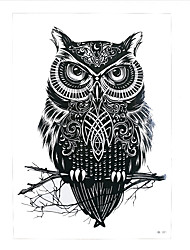 1pc Waterproof Temporary Tattoo Sticker Black Owl Branch Bird Sexy Women Men Body Art Tattoo Sticker Product HB-301