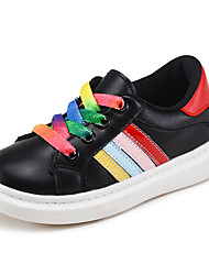 Unisex Sneakers Fall Comfort Athletic Flat Heel Lace-up Black / White Sneaker