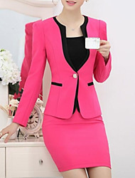 Women's Plus Size Fall Blazer,Solid Notch Lapel Long Sleeve Blue / Red / Black Polyester Thin