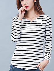 Damen Gestreift Einfach Lässig/Alltäglich T-shirt,V-Ausschnitt Herbst Langarm Weiß / Schwarz Baumwolle Undurchsichtig