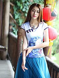 Tee-shirt Femme,Fleur Sortie Chinoiserie Eté Sans Manches Col Arrondi Bleu Coton / Polyester / Spandex Moyen