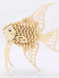 Quebra-cabeças Quebra-Cabeças 3D / Quebra-Cabeças de Madeira Blocos de construção DIY Brinquedos Peixes Madeira BegeModelo e Blocos de