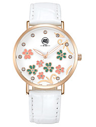 Carol Rose Golden Case Flower Dial White Leather Strap Watch