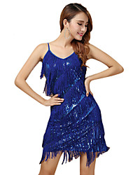 Robes(Bleu Fuchsia Blanc et argent,Polyester,Danse latine)Danse latine- pourFemme Paillettes Frange (s) Spectacle Chaussures de Sport