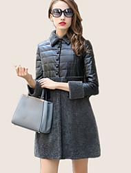 Mulheres Casaco de Pelo Happy-Hour Moda de Rua Inverno,Patchwork Rosa / Marrom / Cinza Pêlo de Cordeiro Colarinho de Camisa-Manga Longa