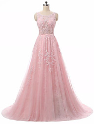 Formal Evening Dress A-line Jewel Sweep / Brush Train Lace / Tulle with Appliques / Lace
