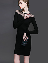 Women's Plus Size Sexy Bodycon DressPatchwork Round Neck Above Knee Long Sleeve Black Polyester Fall