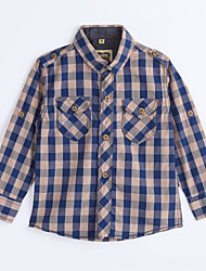Menino de Camisa,Casual Houndstooth Algodão Outono Marrom