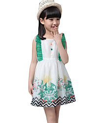 Girl's Casual/Daily Solid DressOthers Summer Green / Multi-color / White