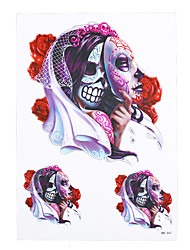 1pc Water Transfer Red Flower Body Art Temporary Tattoo Sticker for Women Men Skull Corpse Bride Tattoo HB-347