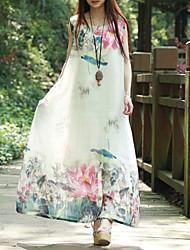 Cynthia Women's Casual/Daily Vintage Loose DressFloral Round Neck Maxi Sleeveless White Polyester
