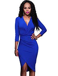 Moulante Robe Femme Décontracté / Quotidien Sexy / simple,Couleur Pleine V Profond Asymétrique Manches Longues Bleu PolyesterPrintemps /