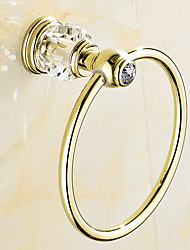 European Style Solid Brass Crystal Gold Bathroom Shelf Bathroom Towel Rings Bathroom Accessories