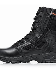 Men's Boots Cowhide Spring Fall Outdoor Hiking Zipper Lace-up Flat Heel Black Khaki Under 1in