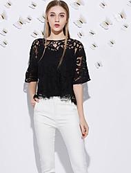 J&г женщин выходить мило летом T-shirtsolid круглая длина шеи рукав черный полиэстер среды