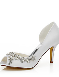 Women's / Fall Heels / Pointed Toe Silk Wedding / Party & Evening / Dress Stiletto Heel Chain Ivory