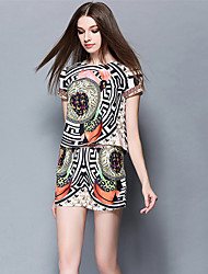 Boutique S Going out /Daily / HolidaySimple /Geometric / Print Round Neck Short Sleeve Multi-color