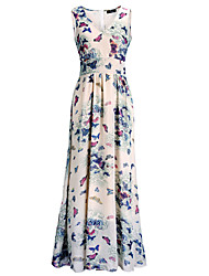 Women's Going out /Simple Chiffon DressFloral V Neck Midi Sleeveless Blue / Pink / Yellow / PurpleModal /