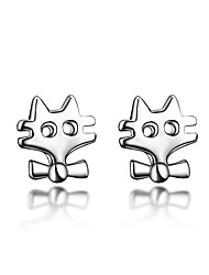 Fox Looks Top Quality 18K White Gold Plating and Real Silver Material Stud Earring