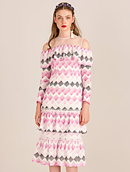 YIGELILA Women's Round Neck Long Sleeve Tea-length Dress-62000