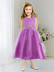 A-line Tea-length Flower Girl Dress - Satin / Tulle Sleeveless Jewel with Beading / Crystal Detailing