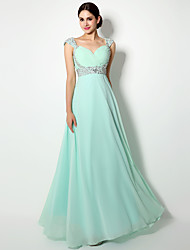Floor-length Chiffon Lace-up / Mini Me Bridesmaid Dress - Sheath / Column Straps with Crystal Detailing / Side Draping / Sequins