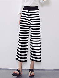 Women's Striped Black Wide Leg PantsSimple