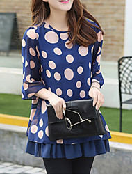 Women's Plus Size Summer Dot Print Loose Chiffon Shirt