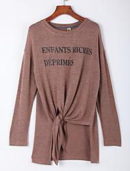 Damen Buchstabe Einfach Lässig/Alltäglich T-shirt,Rundhalsausschnitt Herbst Langarm Rot / Braun / Grau Baumwolle Mittel