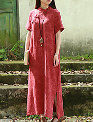 Cynthia Women's Casual/Daily Chinoiserie Loose DressSolid Stand Midi Short Sleeve Red