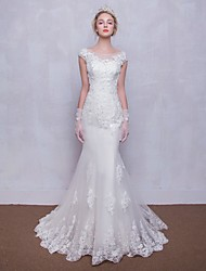 Trumpet / Mermaid Wedding Dress Sweep / Brush Train Scoop Tulle with Beading / Lace