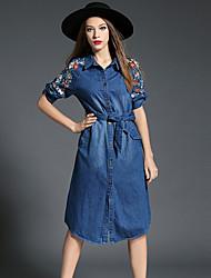 Mujer Vaqueros Vestido Noche Vintage,Bordado Cuello Camisero Hasta la Rodilla Manga Larga Azul Algodón Otoño Tiro Medio Rígido Medio