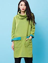casual / diária gola simples bloco turno dresscolor room404 das mulheres acima do joelho manga longa verde