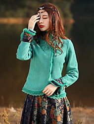 Our Story Women's Going out Boho JacketsFloral Stand Long Sleeve Winter Green Wool / Polyester Medium