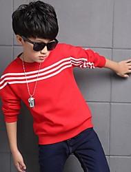 Casual/Dagelijks-Gestreept-Katoen-Winter-Boy's-T-shirt-Zwart / Rood