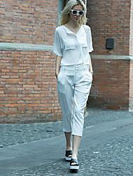 Mulheres Calças Moda de Rua Chinos Poliéster / Elastano Micro-Elástica Mulheres