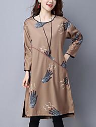 Women's Casual Ethnic Print Loose Dress Print /Patchwork Asymmetrical Red /Black /Yellow Cotton /Linen Fall /Winter