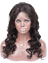 No shedding No tangle Wavy Color 1B Light Brown Swiss Lace 130% density Brazilian Human Hair Full Lace Wig