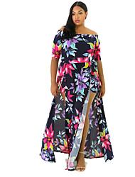 Moulante Robe Femme Décontracté / Quotidien / Grandes Tailles Sexy / Vintage,Fleur Bateau Asymétrique ½ Manches Bleu PolyesterPrintemps /