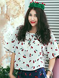 Tee-shirt Femme,Imprimé Sortie / Décontracté / Quotidien simple Eté Manches Courtes Col Arrondi Blanc Coton Fin