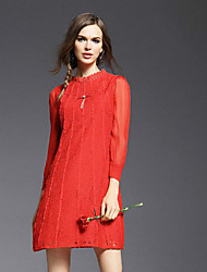 JOJO HANS  Women's Going out DressSolid Stand Above Knee Long Sleeve Red Silk Spring