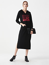 Heart Soul Women's Round Neck Long Sleeve Tea-length Dress-OW15-1115B