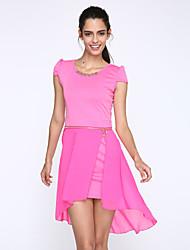 Damen Kleid-Hülle Einfach Solide Mini Polyester Rundhalsausschnitt