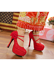 Women's Heels Spring / Summer / Fall Round Toe PU Wedding Low Heel Flower Red / Silver / Gold Others
