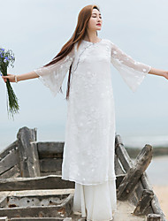 Ramie Cotton Women's Casual/Daily Simple / Chinoiserie Loose DressEmbroidered Round Neck Knee-length  Sleeve